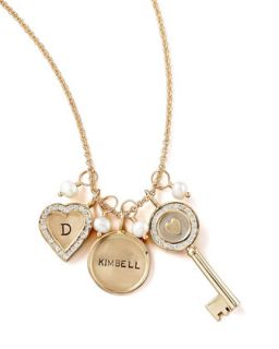 Initial Channel Set Small Heart Charm   Heather Moore   Gold