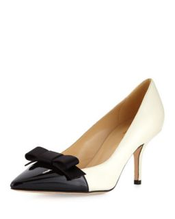 janira cap toe leather bow pump, cream   kate spade new york   Cream (37.0B/7.
