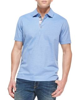 Mens Tino Pique Polo Shirt, Bright Blue   Robert Graham   Bright blue (XXX