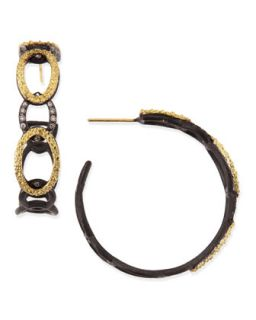 Midnight & Yellow Gold Circle Link Hoop Earrings with Diamonds   Armenta
