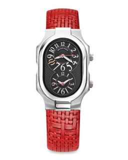 Signature Mens Stainless Steel Watch with Red Woven Strap   Philip Stein
