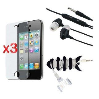 Premium 3 Pack Anti Glare Screen Protector + 3.5mm Earphone Stereo Headset + Fishbone Headset Wrap for Apple iPhone 4S 4G Cell Phones & Accessories