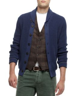 Mens Buttoned Shawl Collar Cardigan, Navy   Brunello Cucinelli   Blue (48)