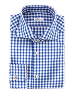 Mens Large Gingham Dress Shirt, Blue   Kiton   Blue (16.5)