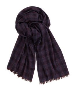 Plaid Cashmere Mens Scarf, Purple   Brunello Cucinelli   Purple