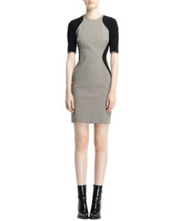 Womens Contour Colorblock Houndstooth Dress, Black/White   Stella McCartney