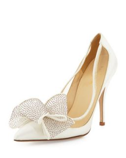 lovely satin bow pump, ivory   kate spade new york   Ivory (39.0B/9.0B)