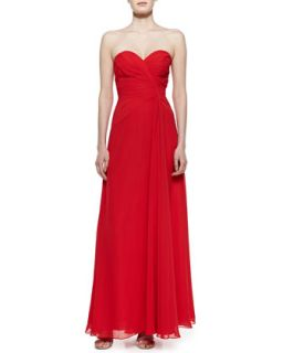 Womens Strapless Draped Gown, Red   Faviana   Red (10)