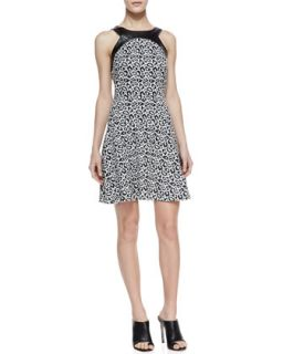 Womens Faux Leather Trim Leopard Print Dress, Black/White   4.collective