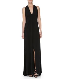 Womens Low Cut Sleeveless Jersey Gown, Black   Carmen Marc Valvo   Black (4)