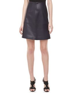 Womens Plonge Leather Banded Skirt   Michael Kors   Midnight (12)
