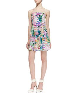 Womens Strapless Geometric Garden Print Dress   Amanda Uprichard Loves Cusp
