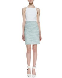 Womens Summer Tweed Two Tone Dress, Spearmint/White   4.collective   Multi (6)