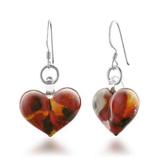 925 Sterling Silver Hand Blown Venetian Murano Glass Wild Flower Heart Shape Dangle Earrings 1.4'' Jewelry