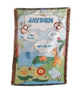 Personalized Baby Information Jungle Throw Blue   New Baby Gift  Nursery Blankets  Baby
