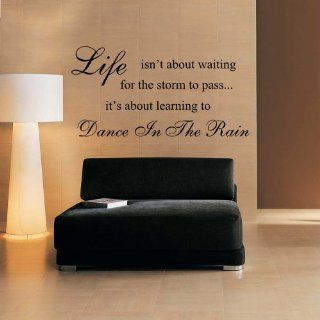 Vinyl Wall Decal Life isn't about waiting for the storm to pass it's about learning to dance in the rain   Home Vinyl Wall Decal Quote (Black, Large)   Wall Docor Stickers