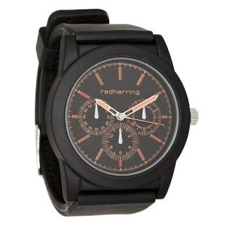 Red Herring Mens black silicone coated metal case watch