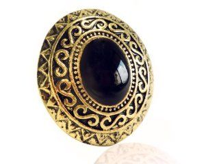 Vintage Looking Black Oval Stone Golden Cocktail Ring with Crystal Emblazing Birthday Anniversary Gifts for Girls Women Jewelry