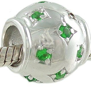 Emerald Green CZ May Birthstone Starburst Sterling Silver Bead for European Bracelet