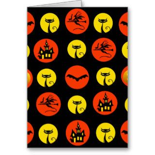 Halloween Polka Dots Bats Black Cats Witches Gifts Greeting Card