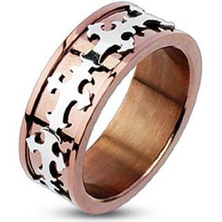 Spikes Mean Stainless Steel Royal Cross Copper IP Band Ring Jewelry