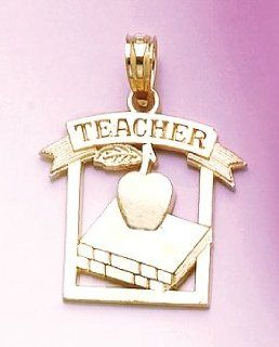 14k Gold Necklace Charm Pendant, Teacher Frame With Apple & Book Jewelry