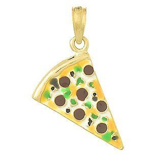 14k Gold Necklace Charm Pendant, Small Pepperoni Pizza Slice With Enamel Million Charms Jewelry