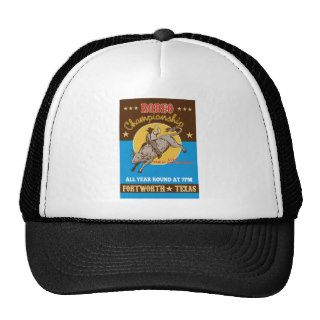 American Rodeo Cowboy bull riding poster Trucker Hats