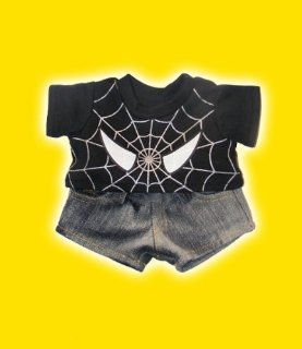 "Black Spiderman T shirt w/Black Jeans clothes fits 12"" Snuggl'ems, 8""   10"" Stuffed Animal kits & most Webkinz & Shining Star animals Toys & Games"