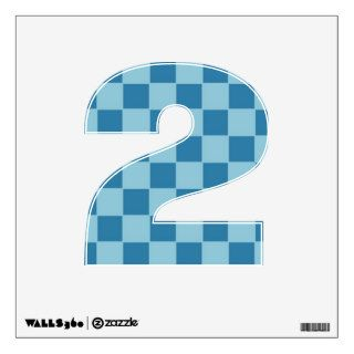 Blue Checkered Number 2 Wall Decal Wall Graphic