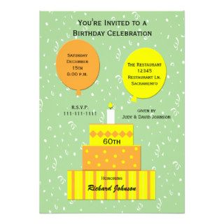 60th Birthday Party Invitation    Fun 60th Cake Custom Invite