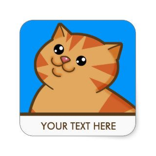 Happy Fat Orange Cat Square Sticker