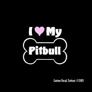 "I Love My Pitbull Dog Bone Car Window Decal Sticker 5"" Automotive"