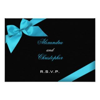 Turquise Ribbon Wedding RSVP Custom Invitation