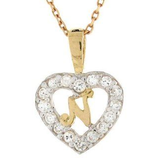 10k Gold Letter 'N' CZ Initial Heart Charm Pendant Jewelry