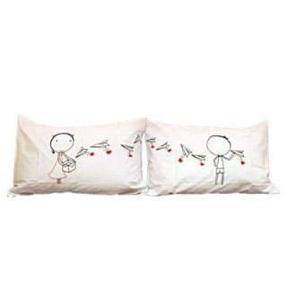 "Couple Gifts Land ""Love Letter"" Couple Pillowcases romantic Valentines Gifts for Couples, Cute Valentines Day Gift Ideas, Good Couple Gifts for Valentines, Romantic Anniversary Gifts (Wedding Gift for the Couple) **Color depend on stock please"