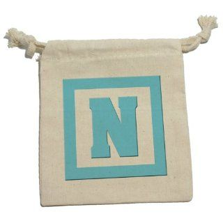 Letter N Initial Baby Boy Block Blue   Shower Muslin Cotton Gift Party Favor Bags   MD (1) Health & Personal Care