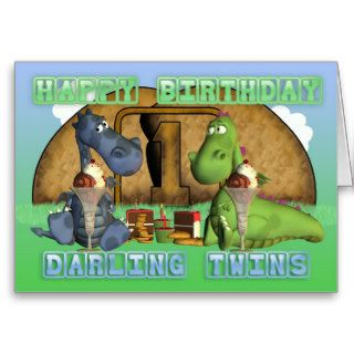 Happy Birthday Darling Twins,  pair of cute dragon Greeting Cards