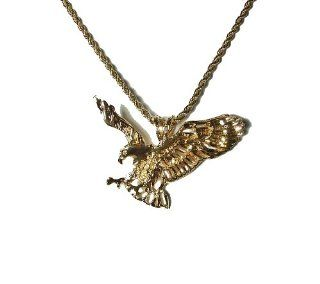 "14k Gold Overlay Pendant Bald Eagle with 24"" Chain Heavy Gold Bonding Jewelry"