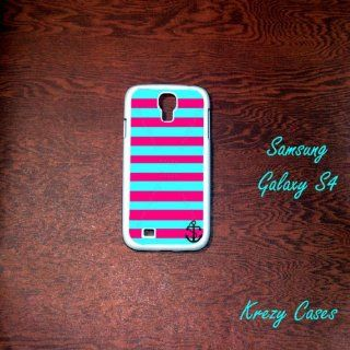 Samsung Galaxy S4 Case,pink and Turquoise Stripe with Anchor Samsung Galaxy S4 Case, Galaxy S4 Case Cell Phones & Accessories