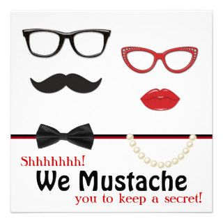 Mustache Surprise Birthday Party Custom Invitation