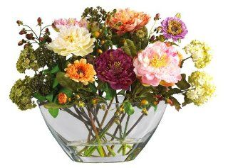 Nearly Natural 4668 Peony with Glass Vase Silk Flower Arrangement, Mixed   Artificial Mixed Flower Arrangements