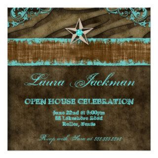 Western Star Photo Card Blue Brown Zebra Suede 2 Custom Invitation