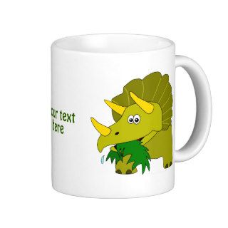 Cute Green Triceratops Cartoon Dinosaur Mug