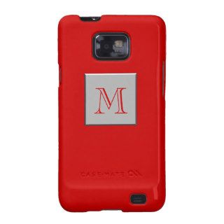 Your Letter. Custom Monogram. Silver Red Samsung Galaxy S2 Cover
