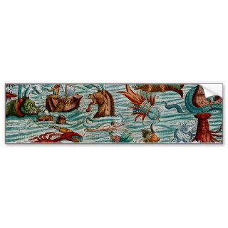 Vintage Sea Monsters Bumper Stickers