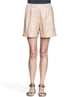 Womens Nappa Leather Midi Shorts   Brunello Cucinelli   Biscotti (46/10)
