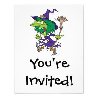 funny dancing witch halloween cartoon custom invites