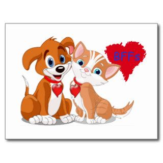 Dog and Cat BFFs Valentines Post Cards