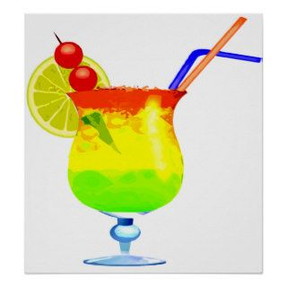 Rainbows Tropical Drink Poster